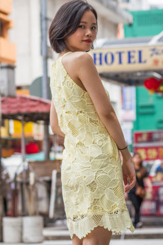 Claire Lace Overlay Dress in Pastel Yellow