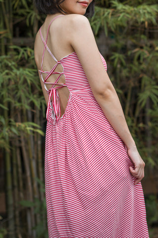 Carise Strappy Back Maxi Dress in Red Pinstripes