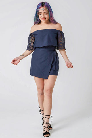 Kiersten Lace Sleeves Off-Shoulder Romper in Navy Blue