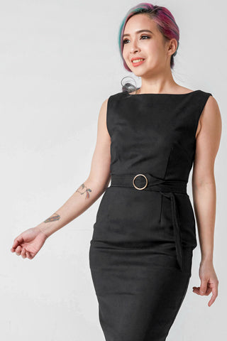 Diana Belted Bodycon Midi Dress in Black