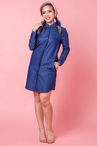Tanya Two Way Lacing Detail Shirt Dress in Dark Denim