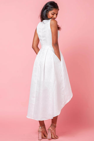Eudora Skater Dress with High Low Hem in White