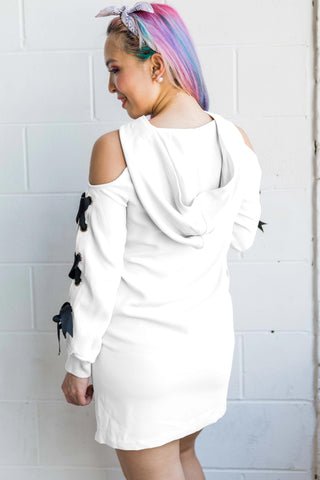 Marcia Cold Shoulder Sweater Dress with Hoodie in White