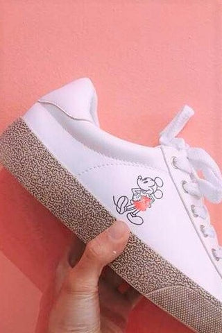 Contrast Base Lace Up Sneakers With Mickey Prints