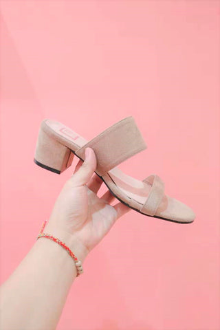 Block Heels Mules in Apricot