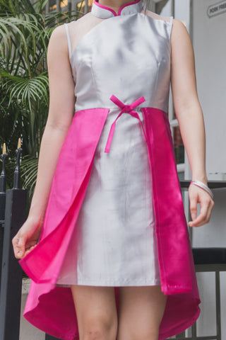 Breanne Organza Panel Cheongsam in Grey & Fuchsia