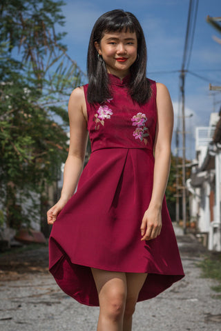Earlene Cheongsam in Burgundy