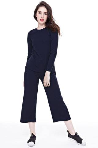 Kandice Long-sleeved Top in Navy Blue - Tops - Twenty3