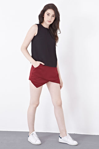 Melanie's Skort Version III in Burgundy - Bottoms - Twenty3