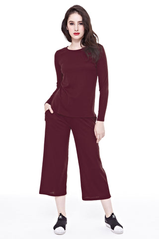 Kandice Long-sleeved Top in Burgundy - Tops - Twenty3