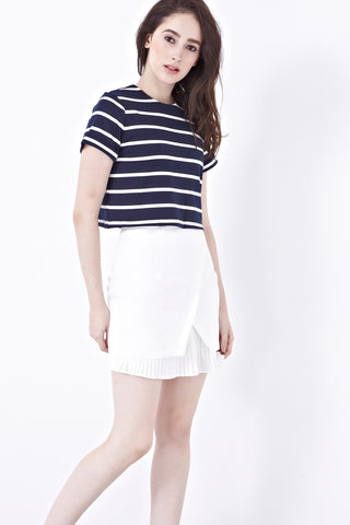 Twenty3 - Lily Pleated Hemline Pencil Skirt in White -  - Bottoms - 1
