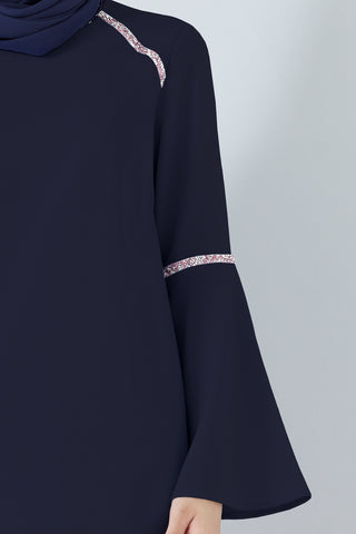 Petunia Flute Sleeves Top with Crystal Embellishments in Navy Blue