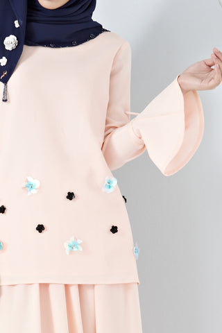 Irma Long Sleeve Top with Floral Embellishment in Pastel Pink