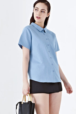 Twenty3 - Twilight Reversible Collared Short Sleeves Top in Denim -  - Tops - 1