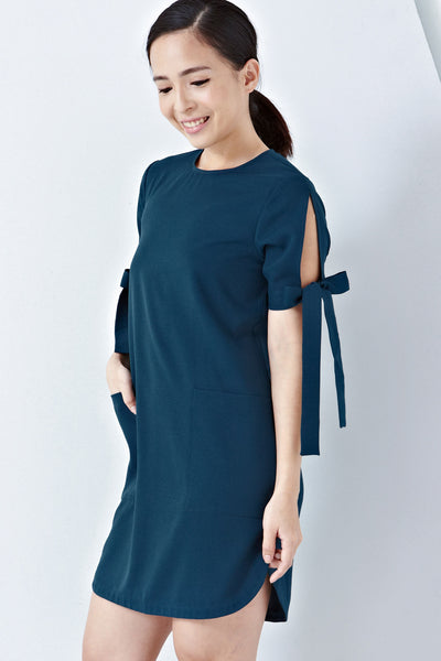Twenty3 - Helina Ribbon Detail Shift Dress in Teal -  - Dresses - 1