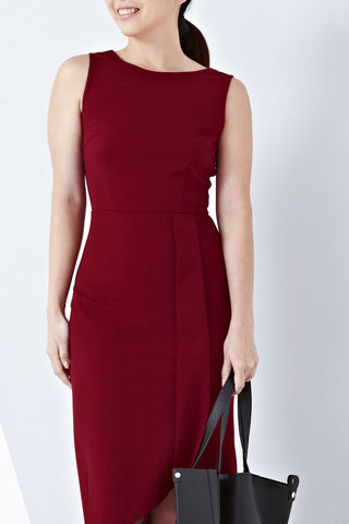 Twenty3 - Haelyn Asymmetrical Hemline Midi Dress in Burgundy -  - Dresses - 1