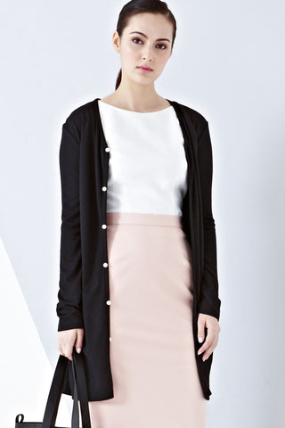 Twenty3 - Amelia Long Line Cardigan in Black -  - Outerwear - 1