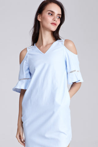 Dorothea Cold Shoulder Shift Dress in Light Blue