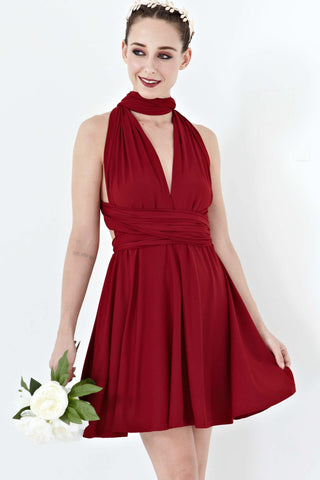 Twenty3 - Marilyn Convertible Bridesmaids Dinner Dress Version III in Burgundy -  - Bridesmaids - 1