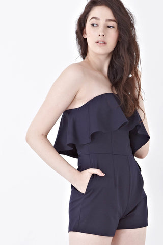 Vanessa Bandeau Playsuit in Navy Blue - Romper - Twenty3