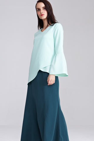 Hilaya Asymmetrical Hemline Top in Pastel Green