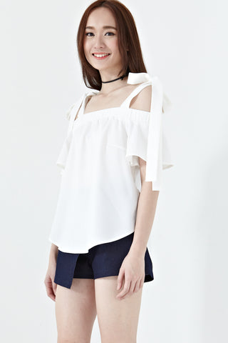 Twenty3 - Prunella Ribbon Cold Shoulder Top in White -  - Tops - 1