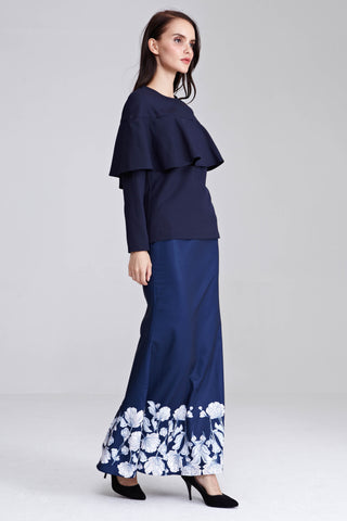 Nisha Ruffle Top in Navy Blue - Tops - Twenty3