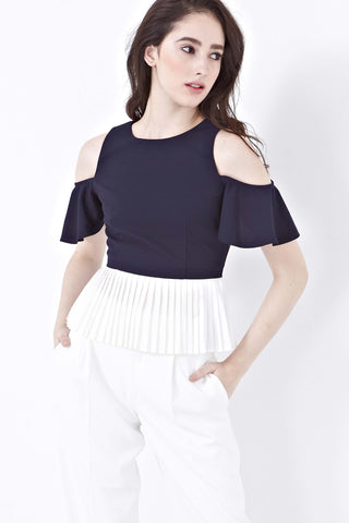 Twenty3 - Erin Cold Shoulder Pleated Top in Navy Blue -  - Top - 1