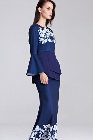 Mireya Pleated Peplum Top with Placement Floral Print in Navy Blue - Tops - Twenty3
