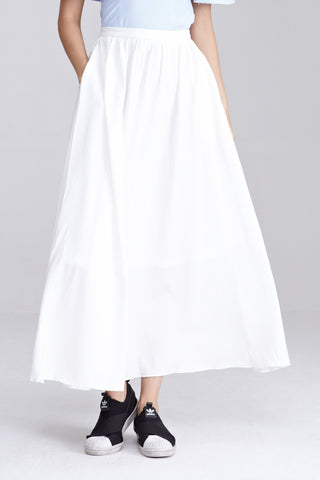 Aceline Maxi Skirt in White - Bottoms - Twenty3