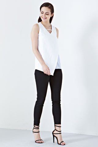 Twenty3 - Larnia Contrast Panel Top in White -  - Tops - 1