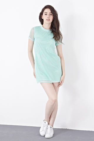 Dace Mesh Overlay Shift Dress in Mint - Dresses - Twenty3