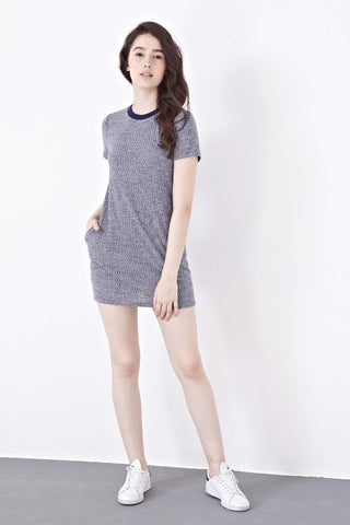 Twenty3 - Abella Textured T-Shirt Dress in Navy Blue -  - Dresses - 1
