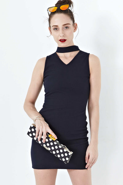 Twenty3 - Lucia High Neck Bodycon Dress in Navy Blue -  - Dresses - 1