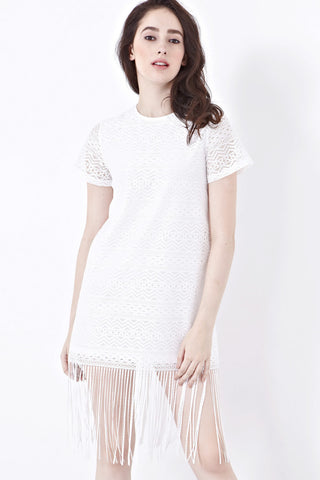 Twenty3 - Faas Shift Dress with Fringe in White -  - Dresses - 1