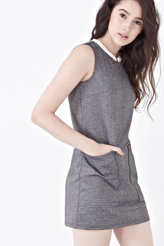 Zoey Sleeveless Shift Dress in Dark Grey - Dresses - Twenty3