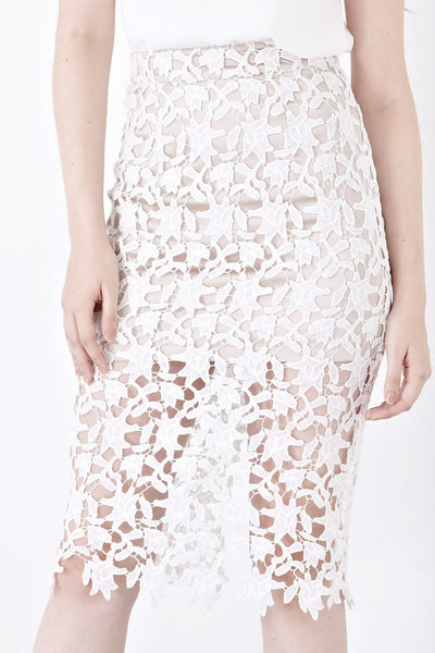 Edme Lace Overlay Pencil Skirt in White - Bottoms - Twenty3