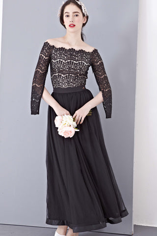 Twenty3 - Eve Lace Overlay Off-Shoulder Top in Black -  - Top - 1