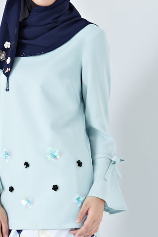 Irma Long Sleeve Top with Floral Embellishment in Dusty Green