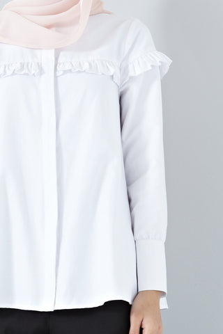 Acacia Frill Detail Long Sleeve Top in White - Tops - Twenty3