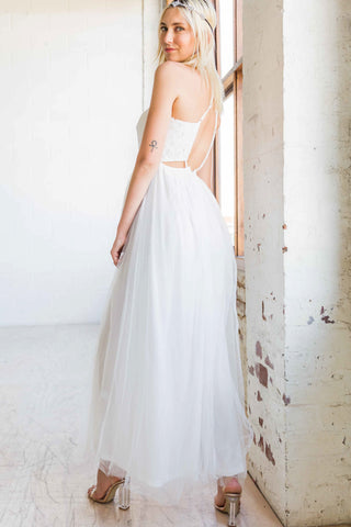 Esmeralda Maxi Lace Overlay Bridal Gown with Strappy Back in White