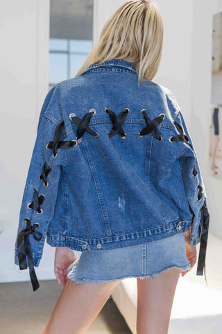 Codie Oversized Denim Jacket with Ribbon Detail