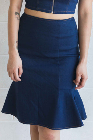 Moira Fishtail Skirt in Denim - Bottoms - Twenty3