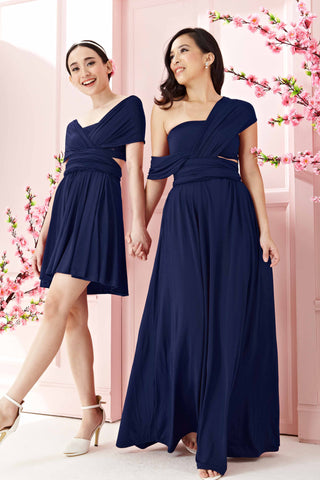 Marilyn Convertible Bridesmaids Dinner Dress Version III in Navy Blue (Long)
