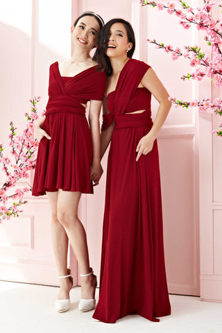 Twenty3 - Marilyn Convertible Bridesmaids Dinner Dress Version III in Burgundy (Short) -  - Bridesmaids - 1