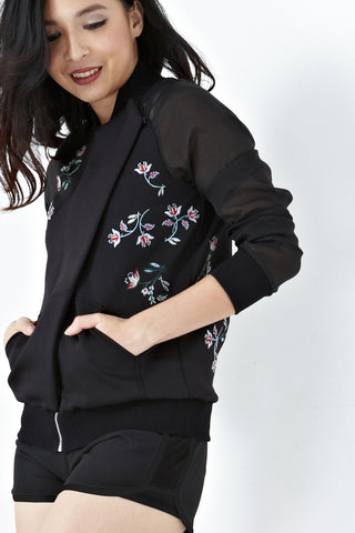 Twenty3 - Ryleigh Organza Sleeves Jacket with Floral Embroidery in Black -  - Outerwear - 1