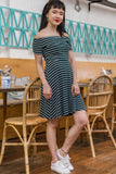 Marsha Off Shoulder Dress in Emerald Pinstripes - Dresses - Twenty3