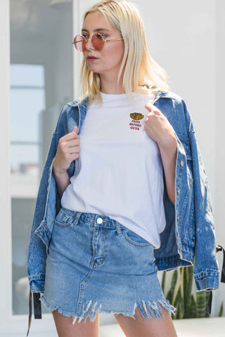 Carey T-Shirt with Fries Patch in White - Tops - Twenty3