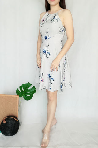Floral Ballard Dress in Grey