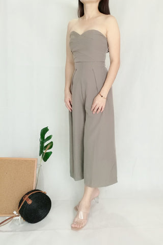 Tube Strapless Wide Leg Jumpsuit in Grey